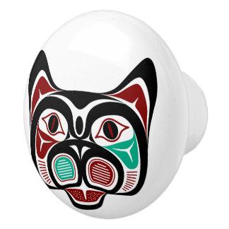 Northwest Pacific coast Haida Kitty Ceramic Knob