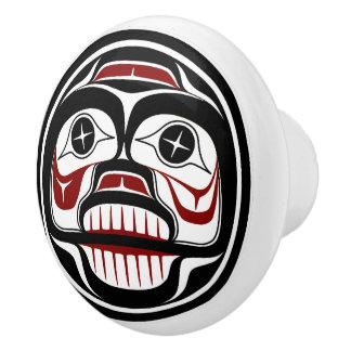 Northwest Pacific coast Haida Weeping skull Ceramic Knob