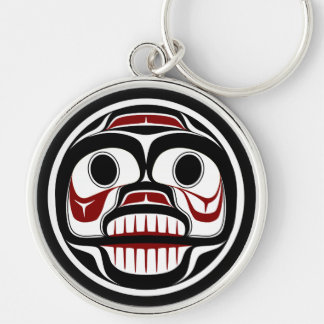 Northwest Pacific coast Haida Weeping skull Silver-Colored Round Key Ring