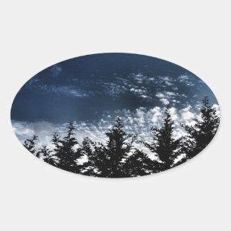 Northwest Skyline Trees Oval Sticker