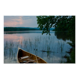 Northwoods Sunset Over Lake Poster