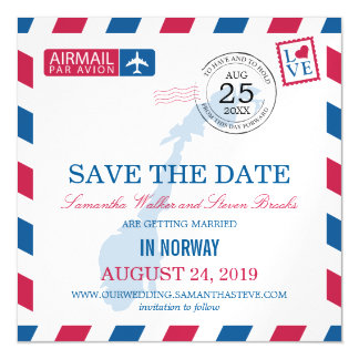 Norway Airmail Save the Date Magnetic Invitations