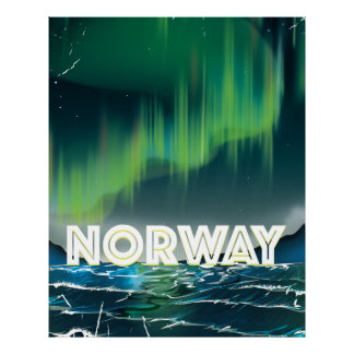 Norway Aurora Northern Lights Travel Poster