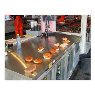 Norway, Bergen fish market, burger stall Postcard