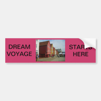 Norway, Bergen,painted houses on the waterfront Car Bumper Sticker