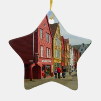 Norway, Bergen,painted houses on the waterfront Ceramic Ornament