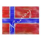 Norway distressed Norwegian flag Postcard
