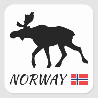Norway Elk and flag Square Sticker