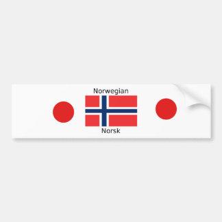 Norway Flag And Norwegian Language Design Bumper Sticker