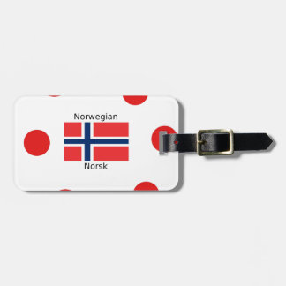 Norway Flag And Norwegian Language Design Luggage Tag