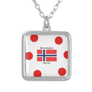 Norway Flag And Norwegian Language Design Silver Plated Necklace