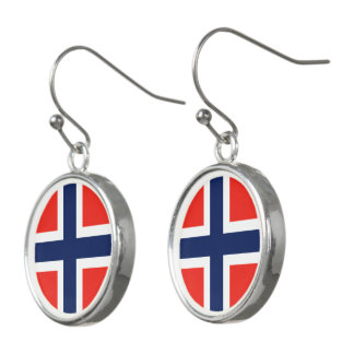Norway Flag Earrings