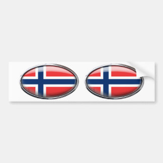 Norway Flag Glass Oval Bumper Sticker