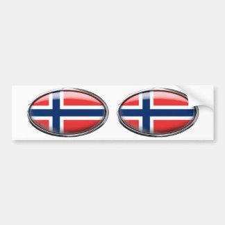Norway Flag Glass Oval Car Bumper Sticker