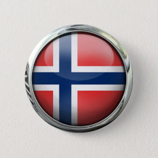 Norway Flag Round Glass Ball 6 Cm Round Badge