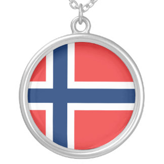 Norway Flag Silver Plated Necklace