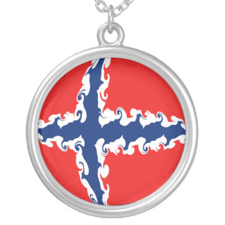 Norway Gnarly Flag Round Pendant Necklace