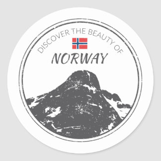 Norway grunge button classic round sticker