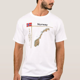 Norway Map + Flag + Title T-Shirt