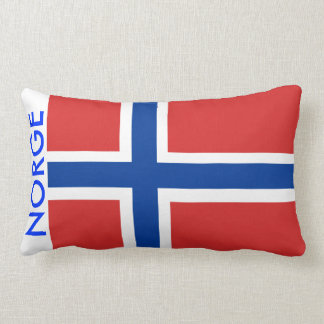 Norway / Norge Norwegian Flag with Text Accent Throw Pillow