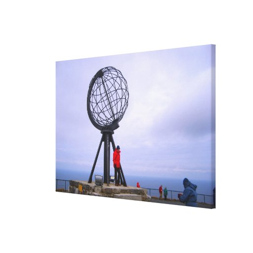 Norway, North Cape, globe symbol Stretched Canvas Prints