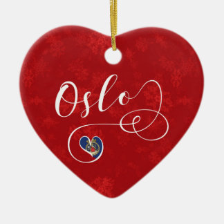 Norway Oslo Heart, Christmas Tree Ornament