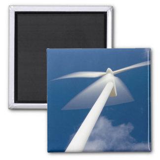 Norway, Sogn og Fjordane. Wind mill at Kråkenes. Square Magnet