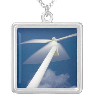 Norway, Sogn og Fjordane. Wind mill at Kråkenes. Square Pendant Necklace