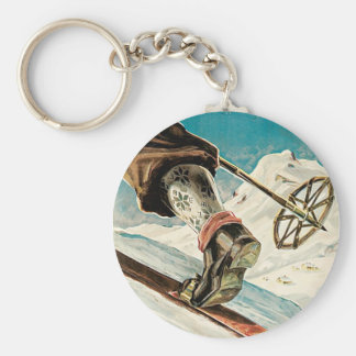 Norway ~ The Home of Skiing Basic Round Button Key Ring