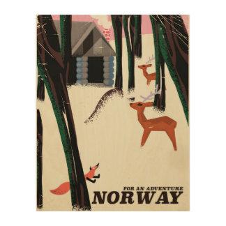 Norway vintage travel poster landscape