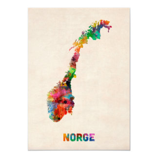 Norway Watercolor Map Card