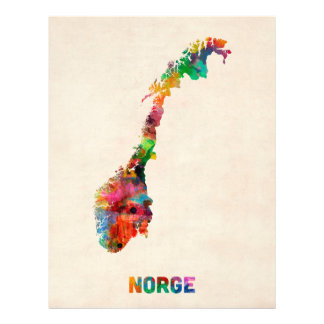 Norway Watercolor Map Personalized Flyer