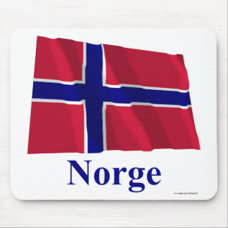 Norway Waving Flag with Name in Norwegian Mouse Pads