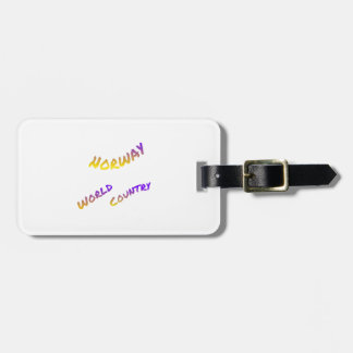 Norway world country, colorful text art luggage tag
