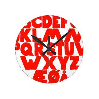 Norwegian Alphabet Round Clock