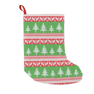 Norwegian Alpine Christmas Trees Pattern Small Christmas Stocking