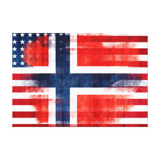 Norwegian American Flag | Wood & Paint Strokes Canvas Print