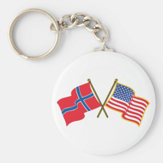 Norwegian American Flags Basic Round Button Key Ring