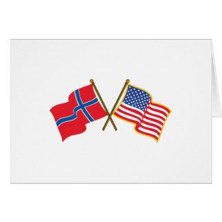 Norwegian American Flags Greeting Card