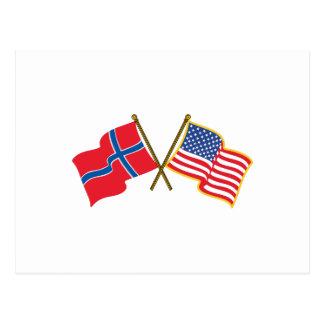 Norwegian American Flags Postcard