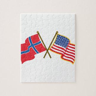 Norwegian American Flags Puzzles