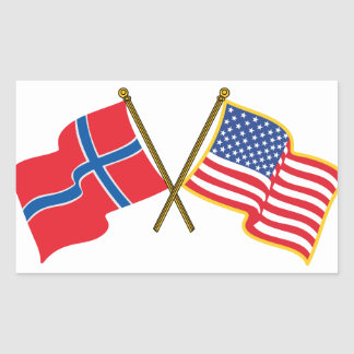 Norwegian American Flags Rectangular Sticker