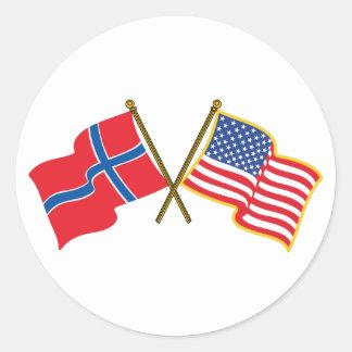 Norwegian American Flags Round Sticker