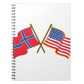 Norwegian American Flags Spiral Note Book