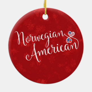 Norwegian American Hearts Flags Holiday Decoration