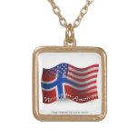 Norwegian-American Waving Flag