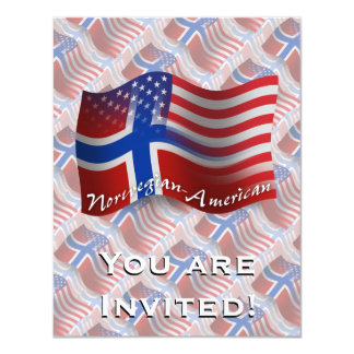 Norwegian-American Waving Flag 11 Cm X 14 Cm Invitation Card