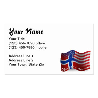 Norwegian-American Waving Flag Double-Sided Standard Business Cards (Pack Of 100)