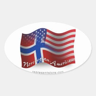 Norwegian-American Waving Flag Oval Sticker