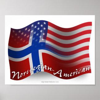 Norwegian-American Waving Flag Poster